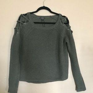 Express lace-up cold shoulder pullover size medium